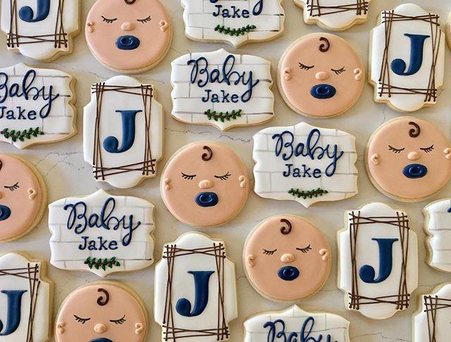 Welcome baby Jake 💙👶🏼_#trophybaking #customcookies #icedcookies #pdxcookies #portland _trina26