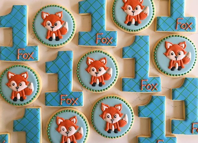Happy Birthday Fox!! 🦊🦊 #trophybaking #customcookies #icedcookies #portland