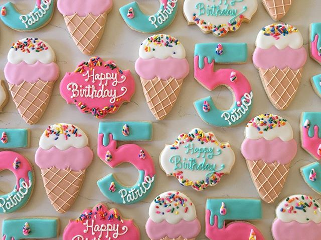 Happy 5th birthday Patrice 🍦💕🍬_#trophybaking #customcookies #icedcookies #pdxcookies #portland _r