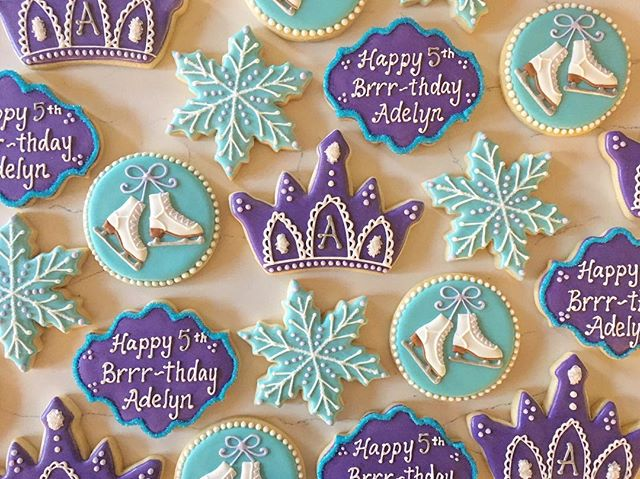 Happy Brrr-thday Adelyn ❄️💜❄️ #trophybaking #customcookies #icedcookies #pdxcookies #portland