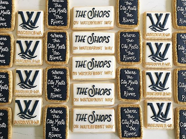 Lots of logos!  Thank you Waterfront Vancouver 😊 #trophybaking #icedcookies #customcookies #logocoo