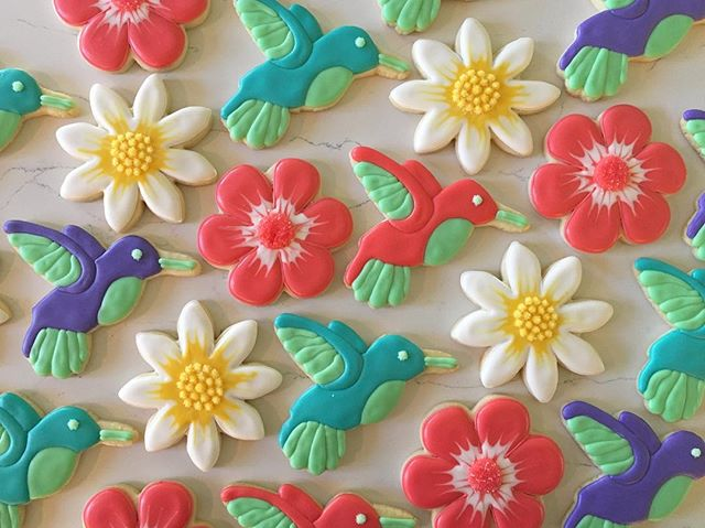 Hummingbirds 🌸🌺🌸 #trophybaking #customcookies #icedcookies #hummingbirdcookies #portland #pdxcook