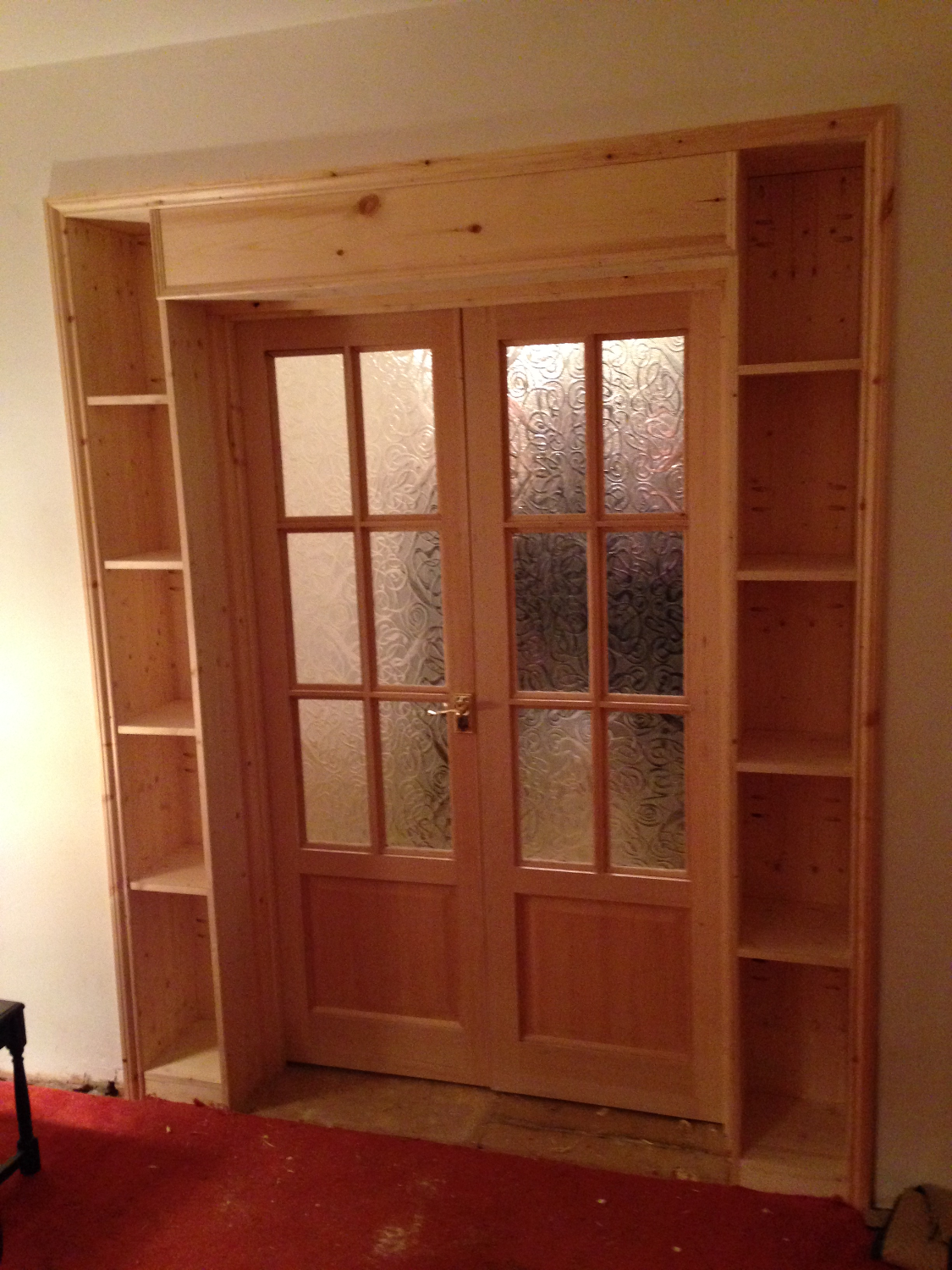 French Doors & Shelving Surround