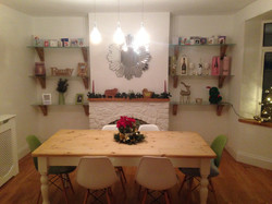 Bespoke Made Oak Shelving Brackets & Frosted Glass