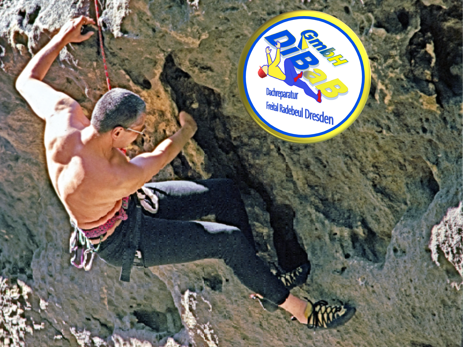 André Hüller klettert im Elbsandstein