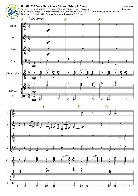 Op. 01.690 2019042005 Volkslied, Chor, Git, E-Pn