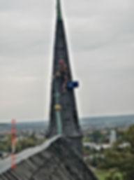 Kirchturmreparatur durch DiBaB GmbH die Bergsteiger am Bau