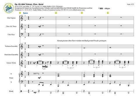 Op. 01.684 2019010206 Traenen dt., Volkslied, Chor, Band