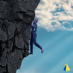 André Hüller klettert am Felsen