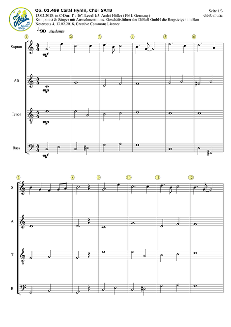 Op. 01.499 2018021304 Coral Hymn, Chor SATB