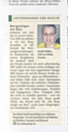 André Hüller Unternehmer der Woche in Sächsischer Zeitung am 13.06.2004