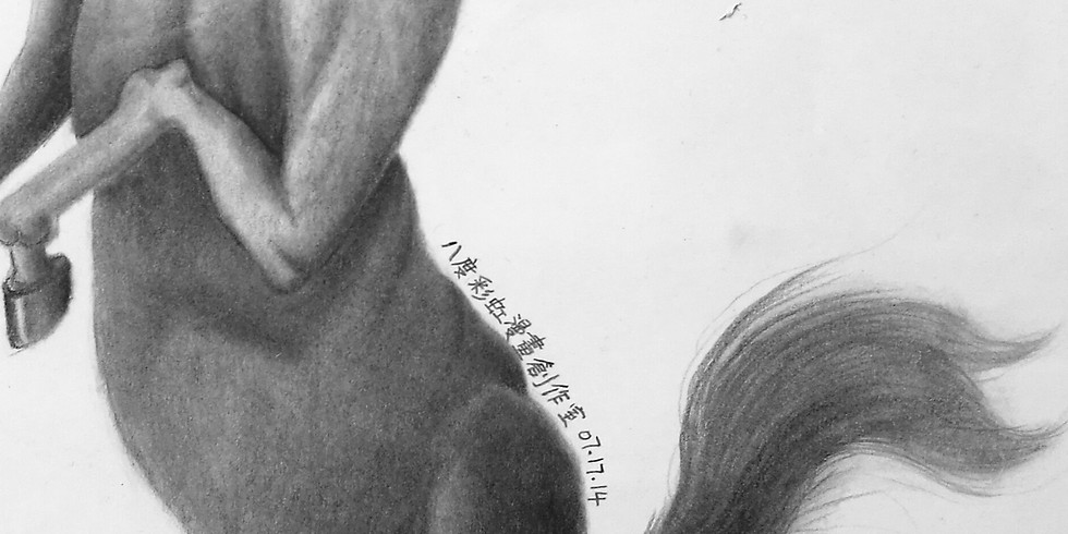 Adult pencil sketching