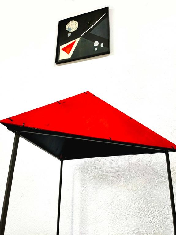 Komposition mit rotem Dreieck - 40x40 plus 60x60x60x110 - ink on wood, steel.jpg