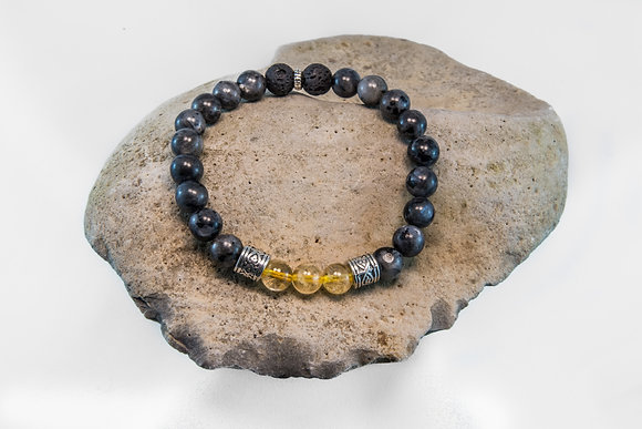 Larvakite, Citrine and Black Lava-Bracelet