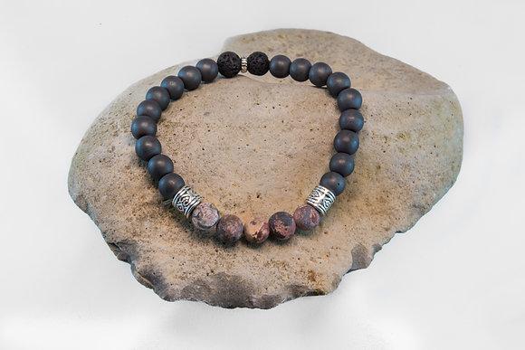 Hematite, Leopard Skin Jasper and Black Lava-Bracelet