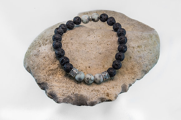 Lotus Jasper and Black Lava-Bracelet