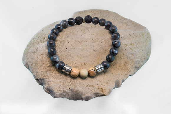 Larvakite, Picture Jasper and Black Lava-Bracelet