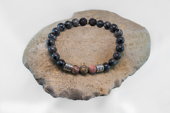 Leopard Skin Jasper, Larvakite, Black Lava-Bracelet