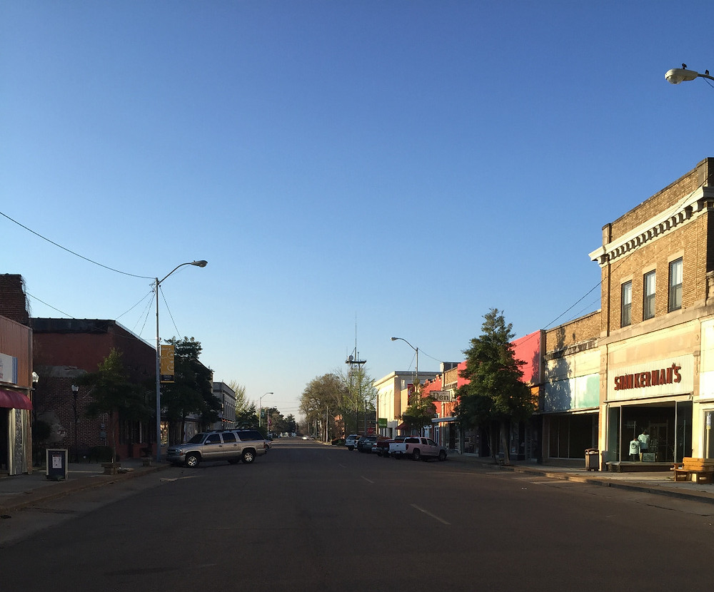 The main street in Clarksdale, Mississippi, on a Saturday afternoon