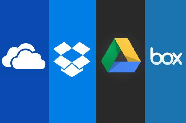 Icloud, Google Drive, Box e One Drive