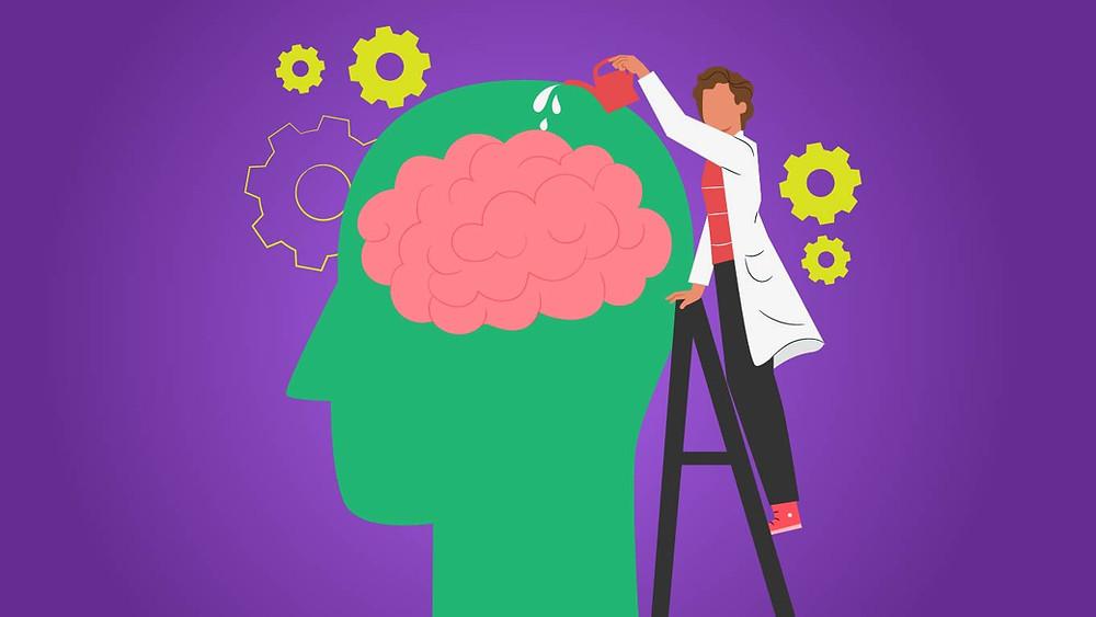 Estudioso regando o seu cérebro para que ele se desenvolva