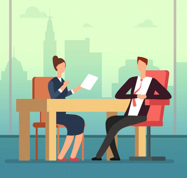 2 executivos durante uma entrevista