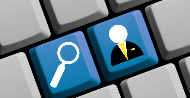 Botão de busca aliado a um botão que representa um trabalhador como se fizesse a busca desse trabalhador na internet
