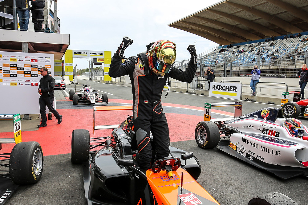 Sebastian Estner celebrating his win after the race