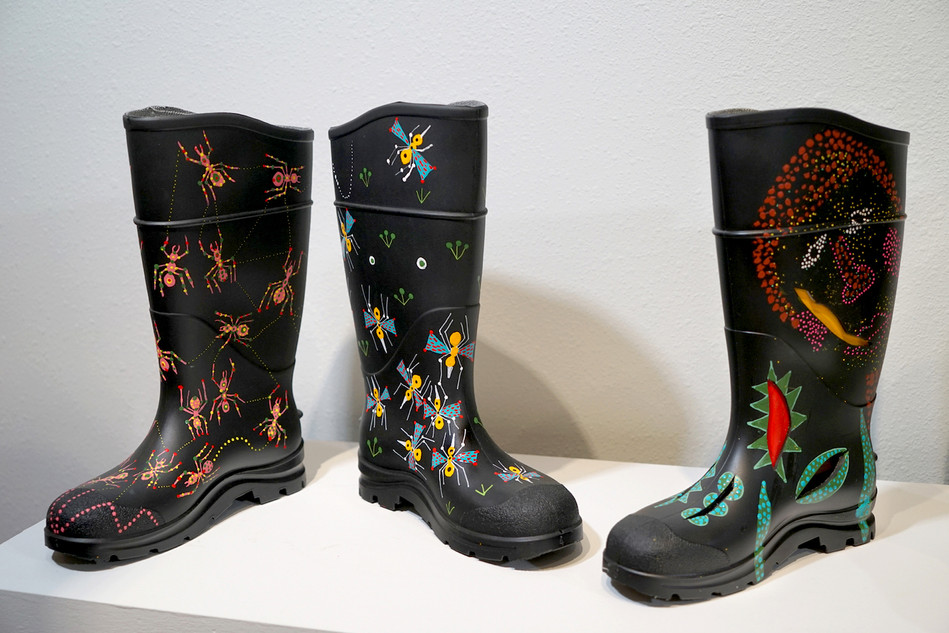Acrylic on Rubber Rain Boots