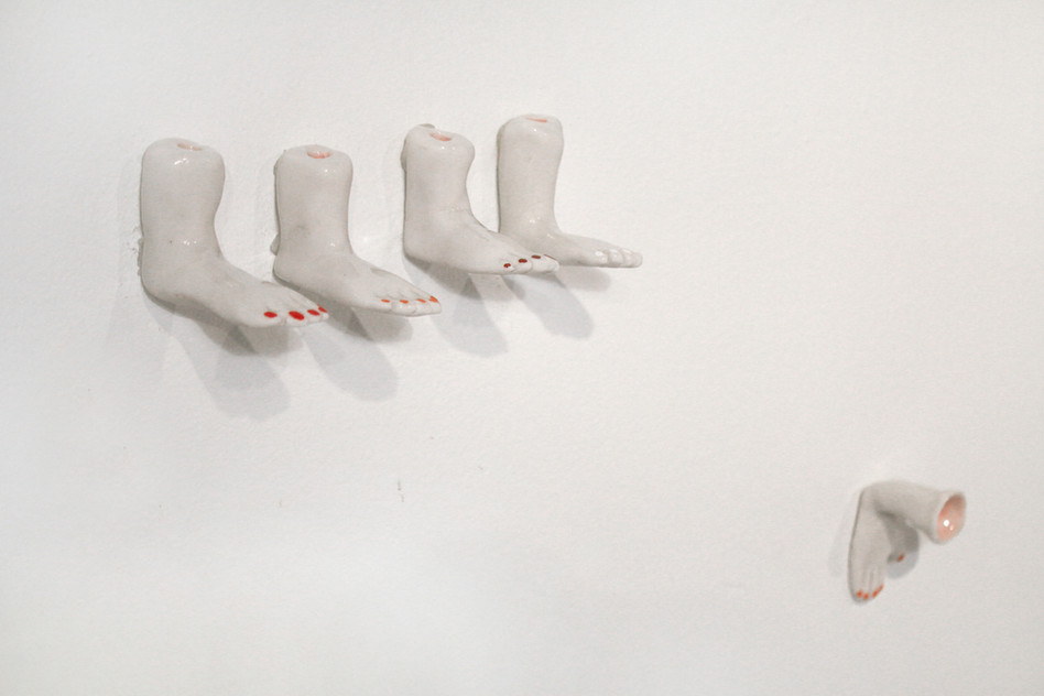 Ceramic Sculptures Installation (Feet),