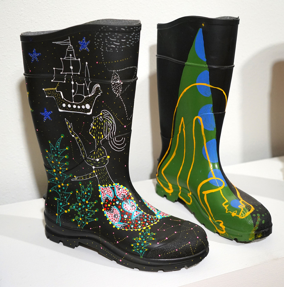 Acrylic on Rubber Rain Boots