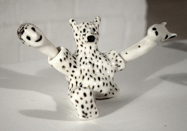 Bear and Two Heads, 2013. Glazed Porcela