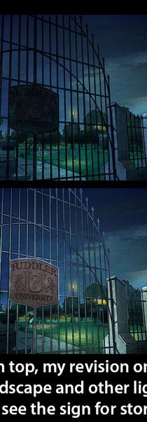 Art Direction on Harley Quinn - Riddler University - night