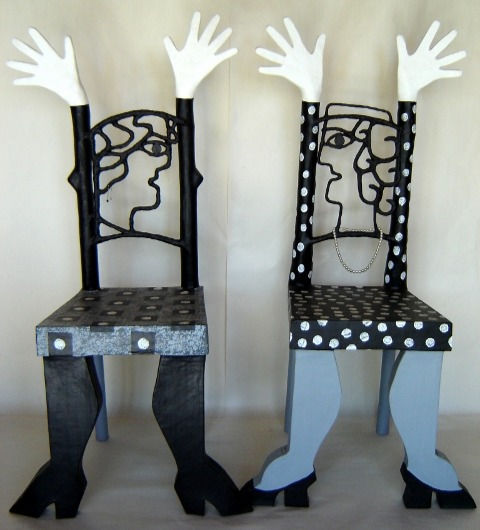 two papier mache chairs
