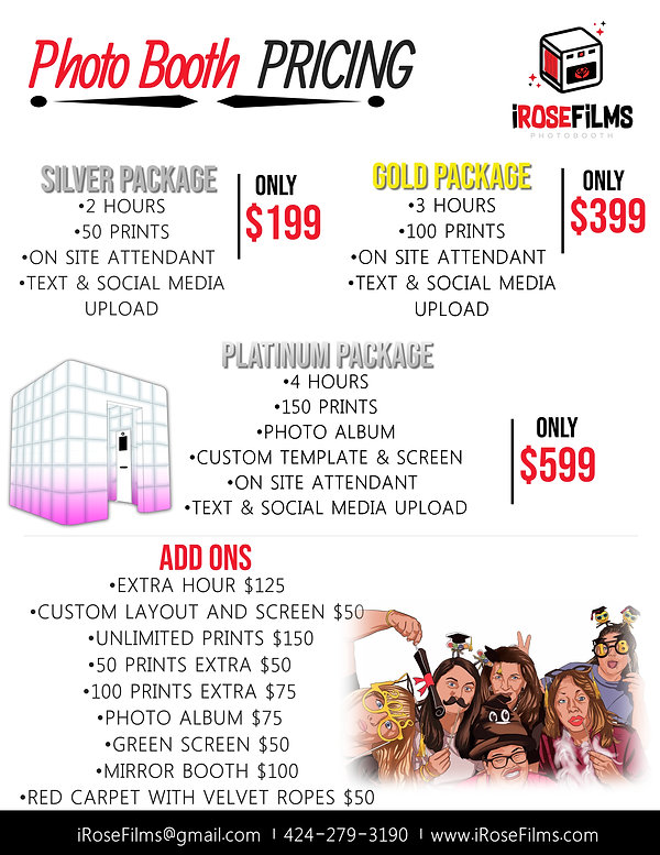 Copy of Photographer Price List Template