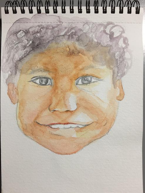 aquarelle visage enfant