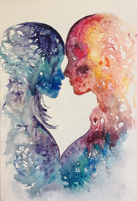 couple peinture à l'huile