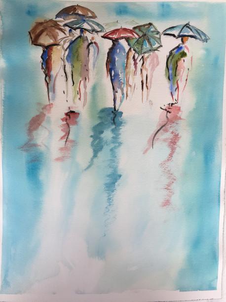 aquarelle pluie