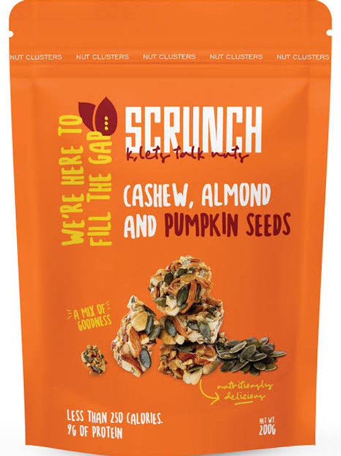 Scrunch cashew , almond and pumpkin seeds