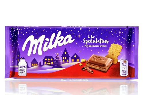 Milka chocolate bar with speculoos pieces.