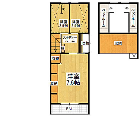 山之内3丁目新築一戸建てカラー3階仕切り.jpg