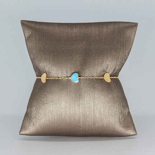 French Heart Charm Bracelet Turquoise
