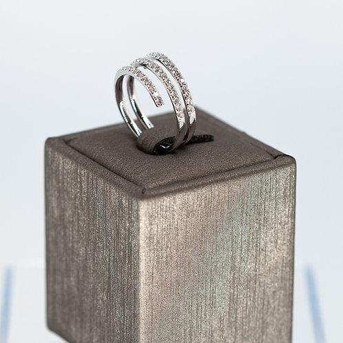 Spiral Diamond Ring in White Gold