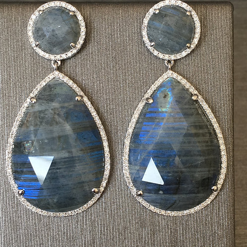 Labradorite and Diamond Teardrops