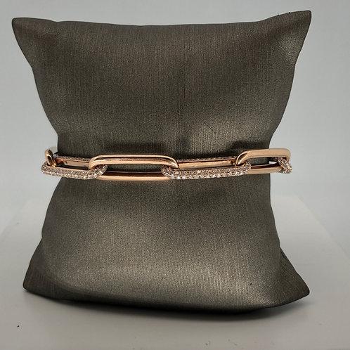 Thick Alternating Diamond and Gold Bracelet