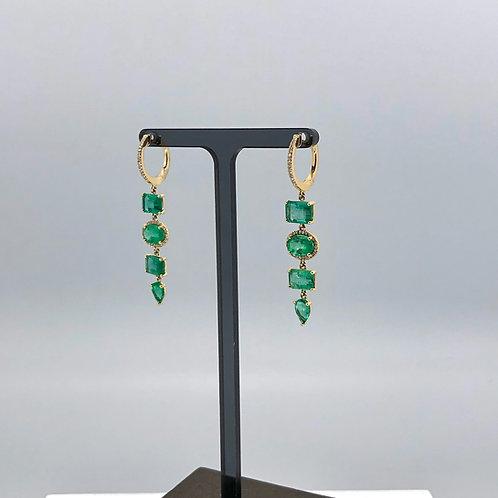 Multi Emerald Drop Earrings