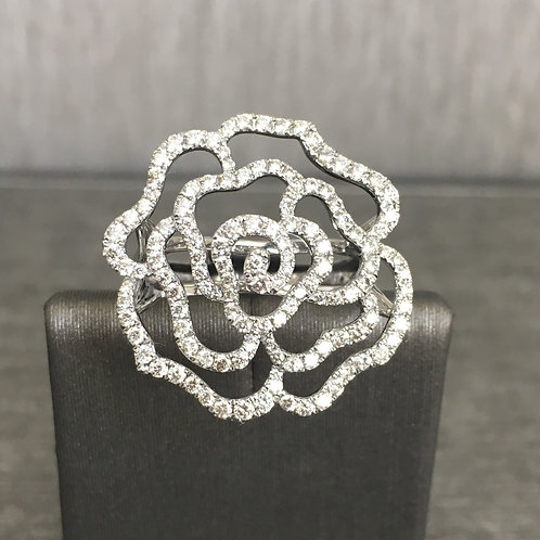 Diamond Rose Ring in White Gold