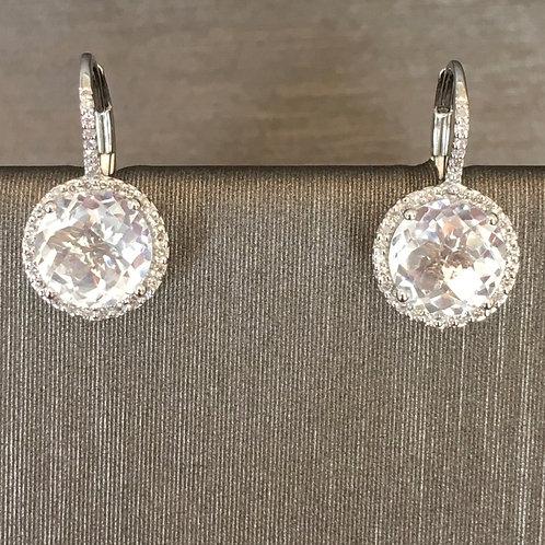 White Topaz Diamond Surround Drops