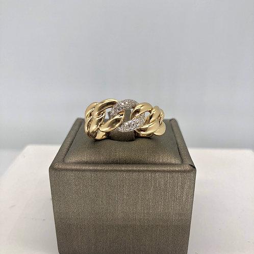 Single Diamond Link Gold Chain Ring