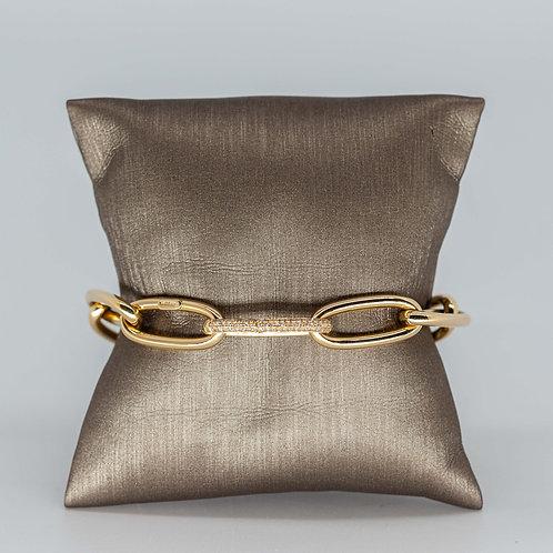 Gold Link Bracelet with Diamond Clasp